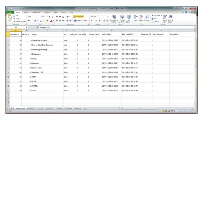 Модуль Экпорта/Импорта 2.28 / 3.4 / 3.5 в Excel многоязычный